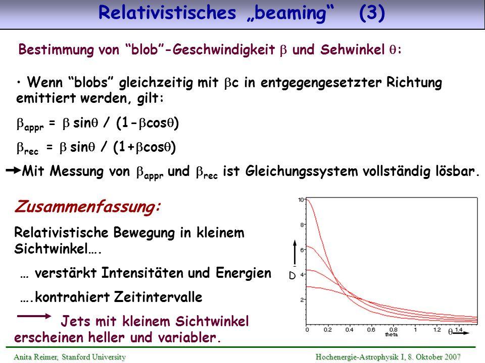 Relativistisches beaming (3) Anita Reimer, Stanford UniversityHochenergie-Astrophysik I, 8. Oktober 2007 Anita Reimer, Stanford University Hochenergie