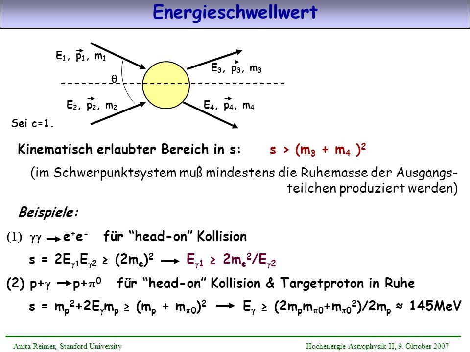 Energieschwellwert Anita Reimer, Stanford UniversityHochenergie-Astrophysik II, 9. Oktober 2007 Anita Reimer, Stanford University Hochenergie-Astrophy