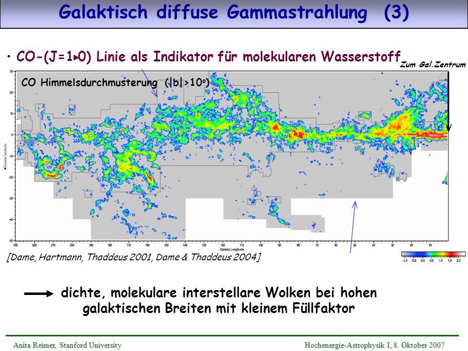 energieunabhängige Absorption @ 2 - 6 TeV : spektrale Form des ursprünglichen Quell- flußes identisch mit gemessenen Spektrum Versteilerung des Spektrums @ 0.2 - 2 TeV, Abbruch @ >6TeV ir EBL Deformation des Quellspektrums durch Absorption Absorption erhöht sich mit Rotverschiebung und EBL-Fluß F 0 (E;z)exp(- (E;z))×= Anita Reimer, Stanford UniversityHochenergie-Astrophysik I, 8.