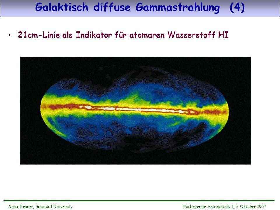 Galaktisch diffuse Gammastrahlung (5) Galaktisches interstellares Strahlungsfeld: - anisotrop und energieabhängig - Sternverteilung (87 Sternklassen) innerhalb der Milchstraße: lokale Dichte, Skalenhöhe, Spektrum [synthetische Spektren: Girardi et al Bibliothek] - Staub (Graphite, PAH, Silikate) -extinktion: Absorption & Streuung - Absorption/Reemission von Sternstrahlung an Staub IR - Streuung der Sternstrahlung an Staub 10-30% der opt.