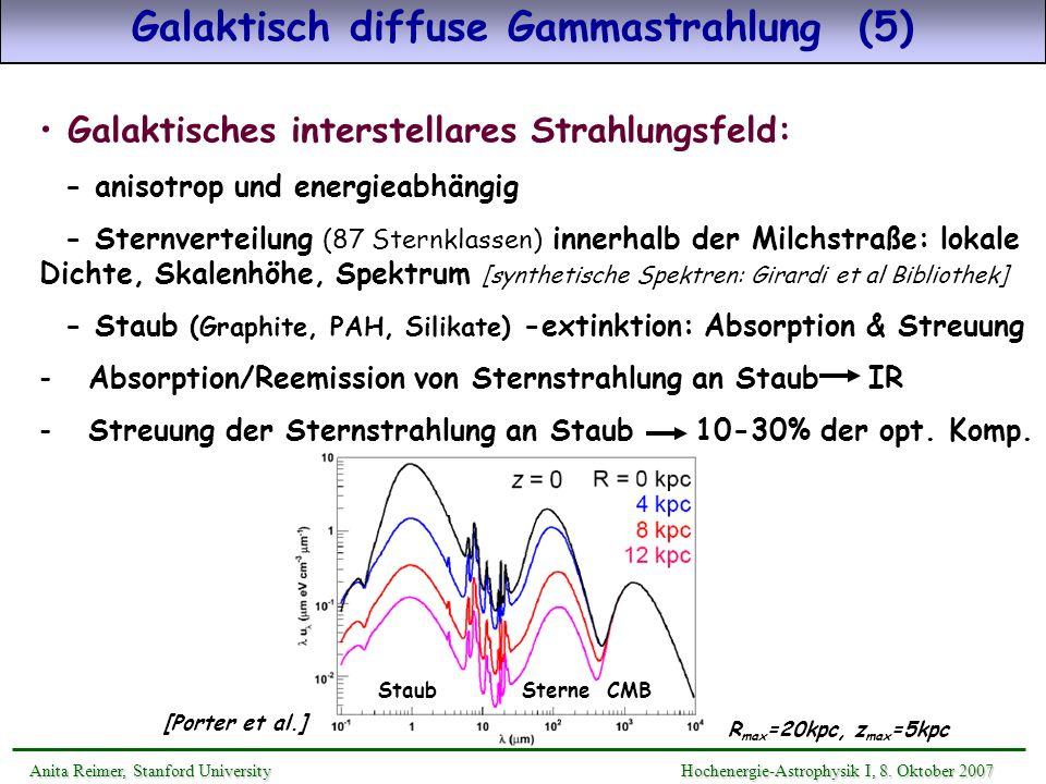 Galaktisch diffuse Gammastrahlung (5) Galaktisches interstellares Strahlungsfeld: - anisotrop und energieabhängig - Sternverteilung (87 Sternklassen)