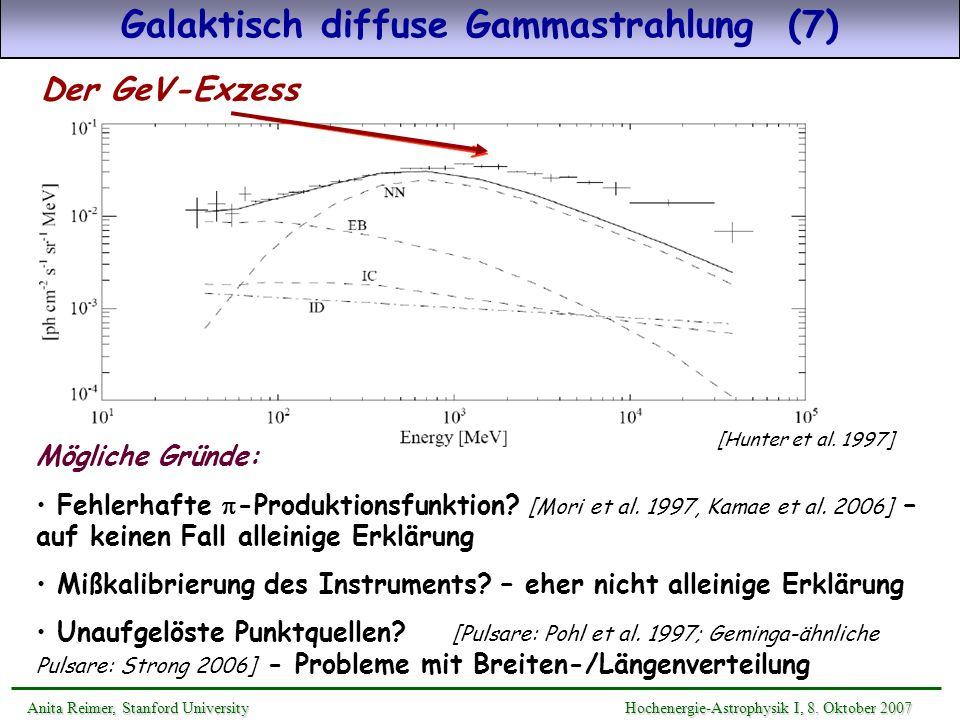 Das Greisen-Zatsepin-Kuzmin-Limit Nukleonen wechselwirken mit dem kosmischen Mikrowellenhintergrund (CMB) via: N + CMB N + s + … Photomeson-Produktion Anita Reimer, Stanford UniversityHochenergie-Astrophysik II, 9.
