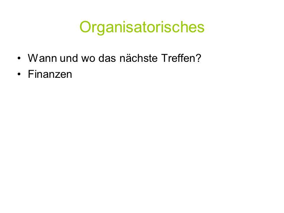 Organisatorisches Wann und wo das nächste Treffen? Finanzen