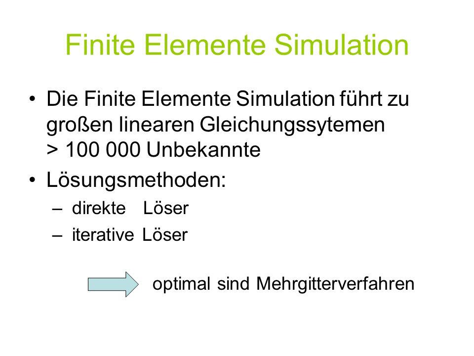 Finite Elemente Simulation Die Finite Elemente Simulation führt zu großen linearen Gleichungssytemen > 100 000 Unbekannte Lösungsmethoden: – direkte Löser – iterative Löser optimal sind Mehrgitterverfahren