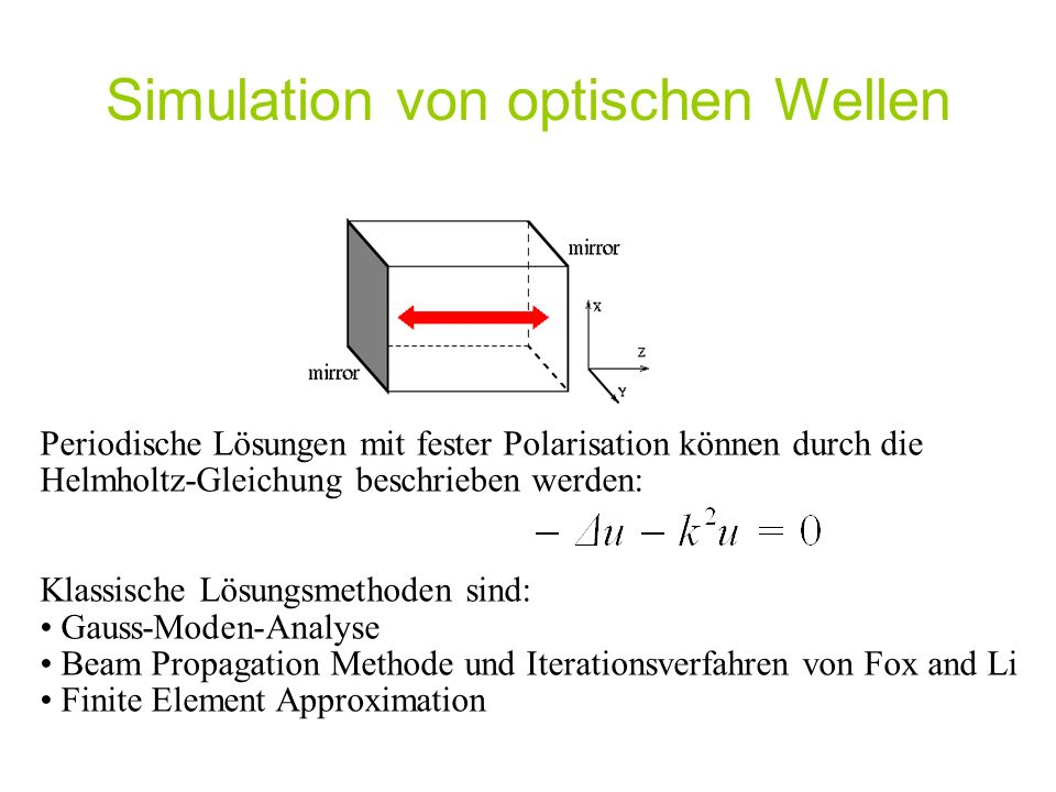 Simulation von optischen Wellen Periodische Lösungen mit fester Polarisation können durch die Helmholtz-Gleichung beschrieben werden: Klassische Lösungsmethoden sind: Gauss-Moden-Analyse Beam Propagation Methode und Iterationsverfahren von Fox and Li Finite Element Approximation