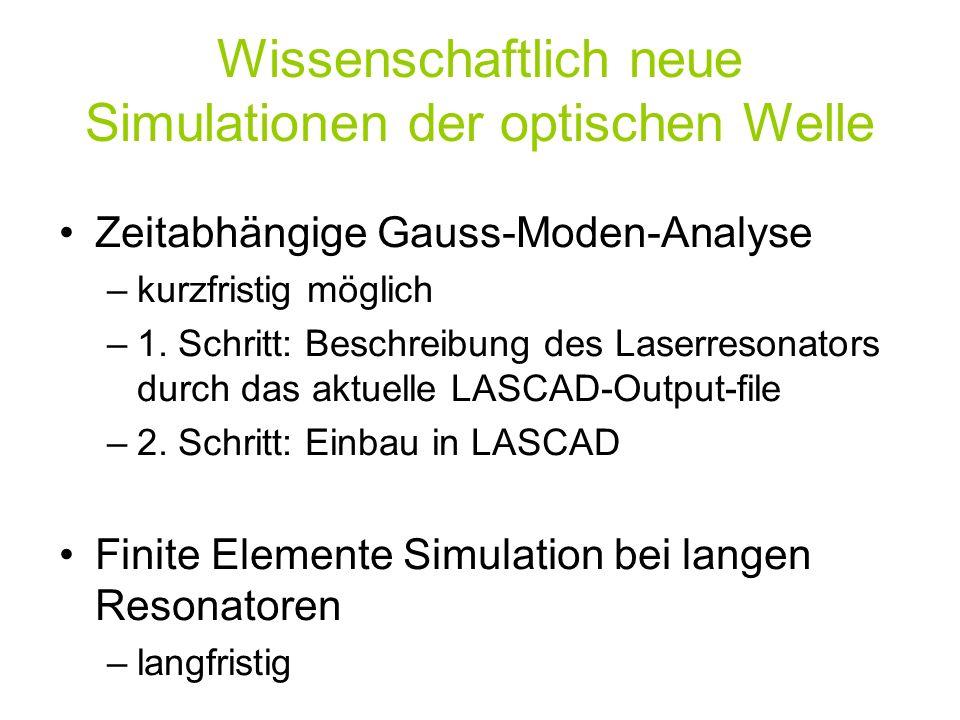 Wissenschaftlich neue Simulationen der optischen Welle Zeitabhängige Gauss-Moden-Analyse –kurzfristig möglich –1. Schritt: Beschreibung des Laserreson