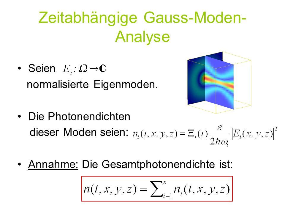 Seien normalisierte Eigenmoden. Die Photonendichten dieser Moden seien: Annahme: Die Gesamtphotonendichte ist: Zeitabhängige Gauss-Moden- Analyse