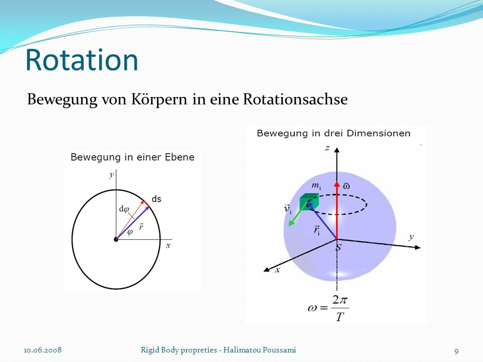 Klassenimplementierung class Rigidbody { public: /* Inverse der Masse */ real inversMass; /* lineare Position */ Vector3 position; /* Winkelposition */ Quaternion orientierung; /* lineare Geschwindigkeit */ Vector3 velocity; /* Winkelgeschwindigkeit */ Vector3 rotation; /* Transform-Matrix */ Matrix4 transformmatrix; } 10.06.200820Rigid Body propreties - Halimatou Poussami