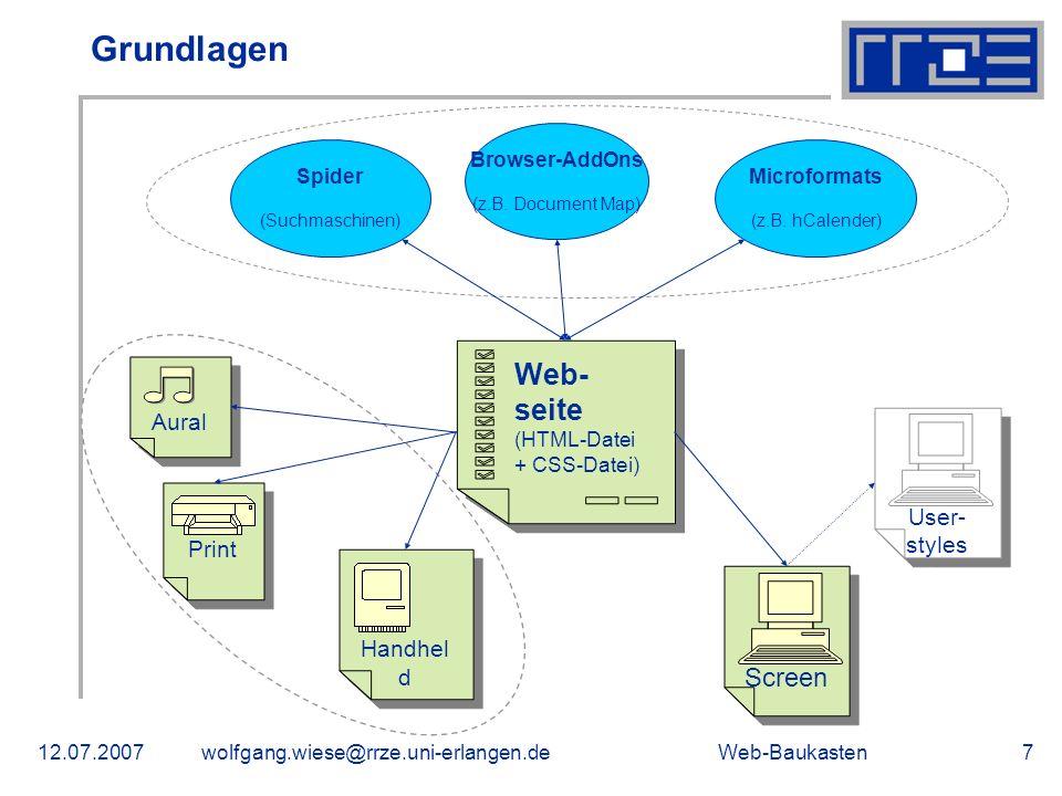 Web-Baukasten12.07.2007wolfgang.wiese@rrze.uni-erlangen.de7 Grundlagen Spider (Suchmaschinen) Browser-AddOns (z.B. Document Map) Microformats (z.B. hC