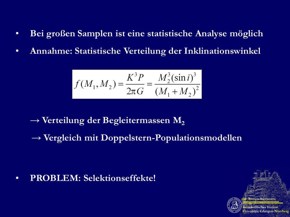 Bei großen Samplen ist eine statistische Analyse möglich Annahme: Statistische Verteilung der Inklinationswinkel Verteilung der Begleitermassen M 2 Ve