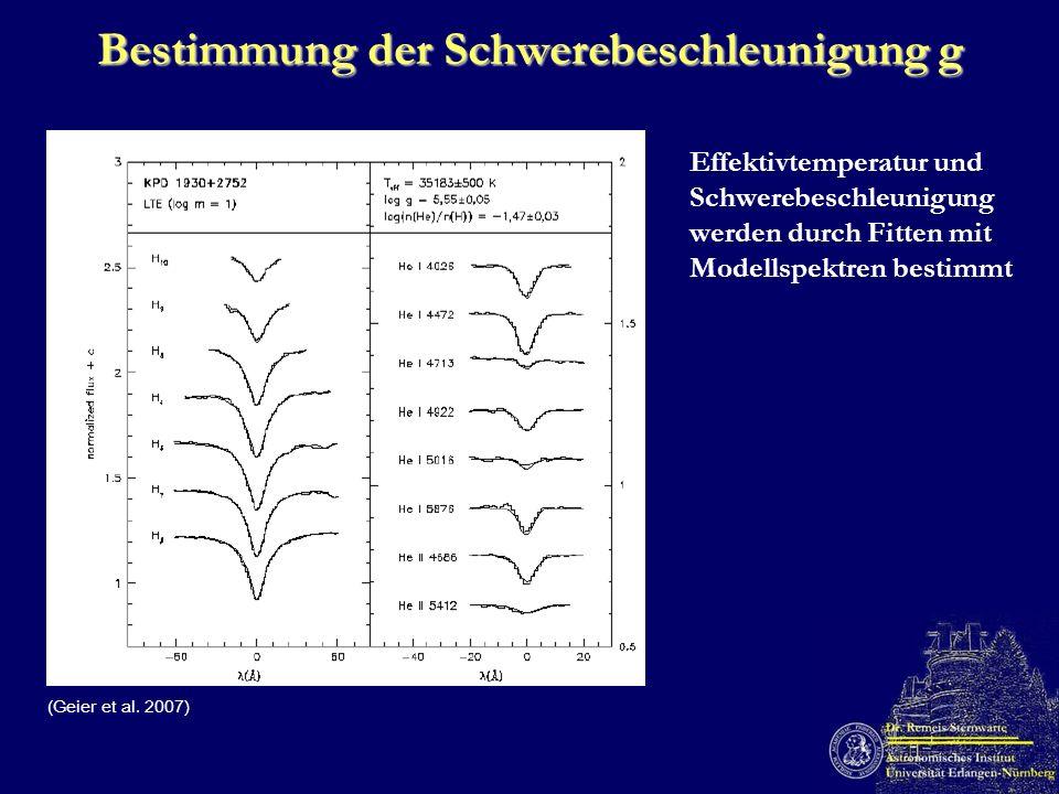 Bestimmung der Schwerebeschleunigung g Effektivtemperatur und Schwerebeschleunigung werden durch Fitten mit Modellspektren bestimmt (Geier et al. 2007