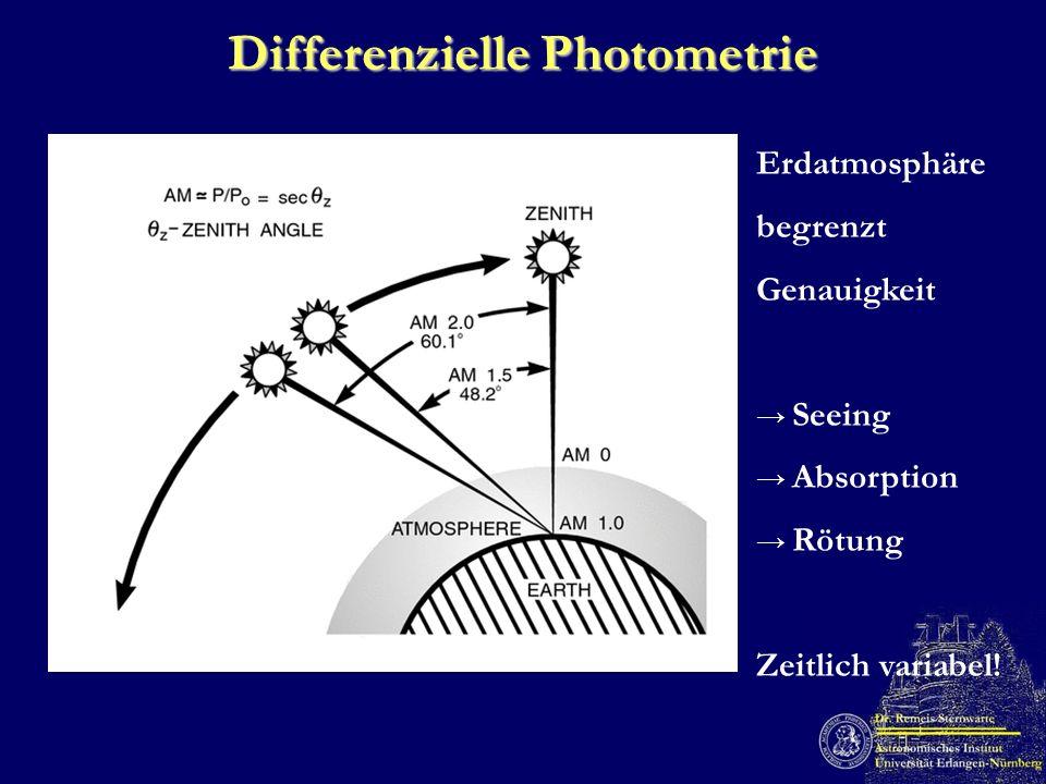 Differenzielle Photometrie Erdatmosphäre begrenzt Genauigkeit Seeing Absorption Rötung Zeitlich variabel!