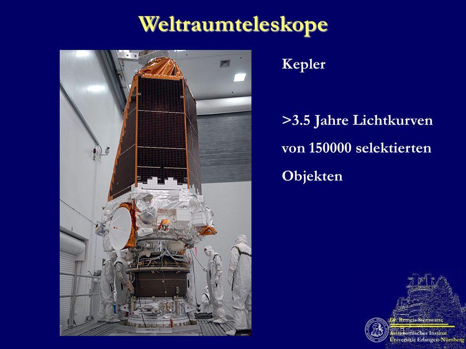 Weltraumteleskope Kepler >3.5 Jahre Lichtkurven von 150000 selektierten Objekten