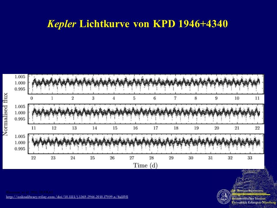 Kepler Lichtkurve von KPD 1946+4340 Bloemen et al. 2011, MNRAS http://onlinelibrary.wiley.com/doi/10.1111/j.1365-2966.2010.17559.x/full#f1 http://onli