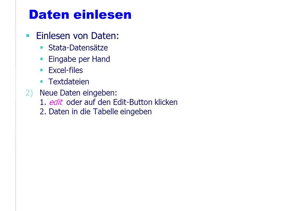 Daten einlesen Einlesen von Daten: Stata-Datensätze Eingabe per Hand Excel-files Textdateien 2)Neue Daten eingeben: 1. edit oder auf den Edit-Button k
