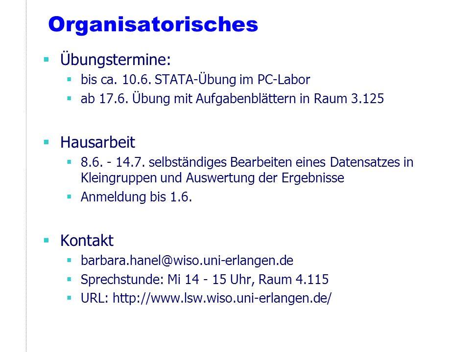 Organisatorisches Übungstermine: bis ca. 10.6. STATA-Übung im PC-Labor ab 17.6. Übung mit Aufgabenblättern in Raum 3.125 Hausarbeit 8.6. - 14.7. selbs
