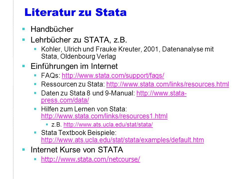 Literatur zu Stata (2) Liste mit zusätzlichen Stata Befehlen: http://www.ats.ucla.edu/stat/stata/ado/default.htm http://www.ats.ucla.edu/stat/stata/ado/default.htm Stata Tutorial: http://www.princeton.edu/~erp/stata/main.html (alte Version, aber gut gemacht)http://www.princeton.edu/~erp/stata/main.html Lernmodule: http://www.ats.ucla.edu/stat/stata/modules/default.htm http://www.ats.ucla.edu/stat/stata/modules/default.htm Andere Lehrveranstaltungen: http://www.soz.unibe.ch/studium/ss02/downloads/Stata_de.pdf (Gute Übersicht über grundlegende Befehle), dazu: http://www.soz.unibe.ch/studium/ss02/downloads/Stata_de.pdf http://www.ipz.unizh.ch/personal/tim/stataman.pdf http://www.unizh.ch/sts/courses/em1/stata_help/introduction3stata.pdf http://www.unizh.ch/sts/courses/em1/stata_help/STATA-Befehle.pdf
