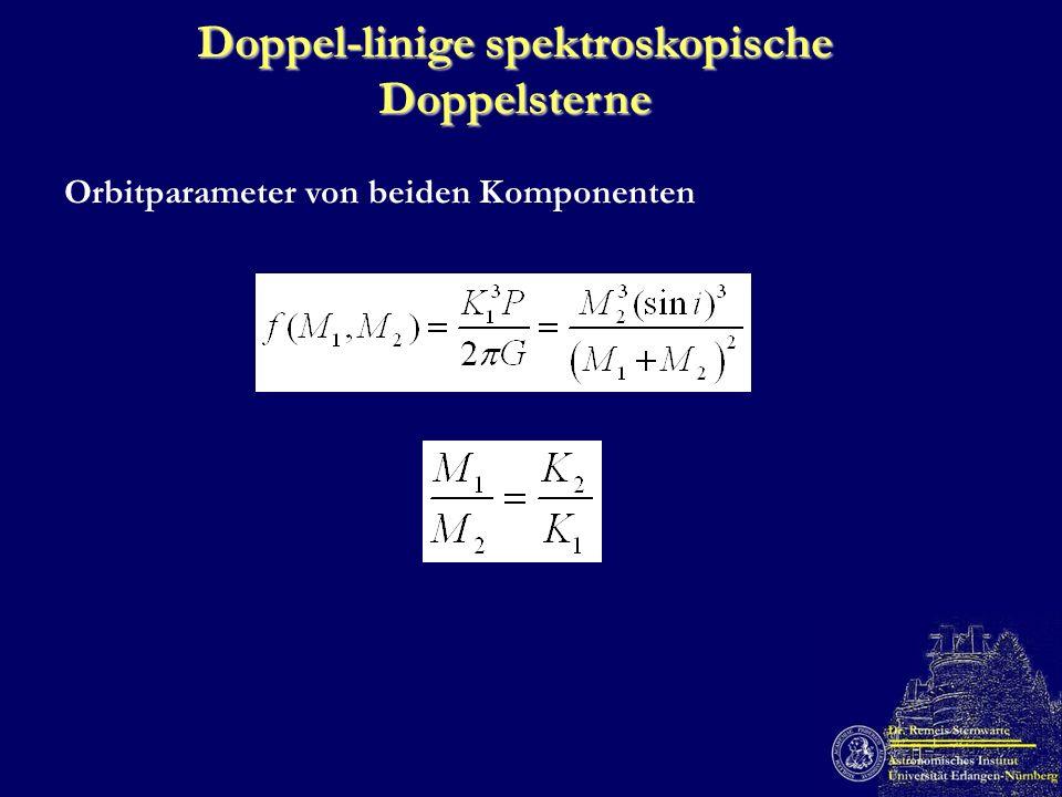 Doppel-linige spektroskopische Doppelsterne Orbitparameter von beiden Komponenten