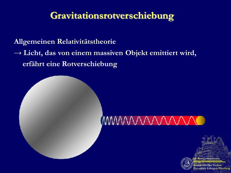 Gravitationsrotverschiebung Allgemeinen Relativitätstheorie Licht, das von einem massiven Objekt emittiert wird, erfährt eine Rotverschiebung