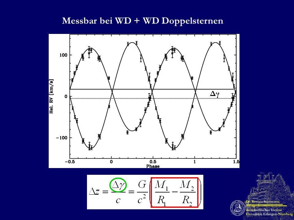 Messbar bei WD + WD Doppelsternen Δγ
