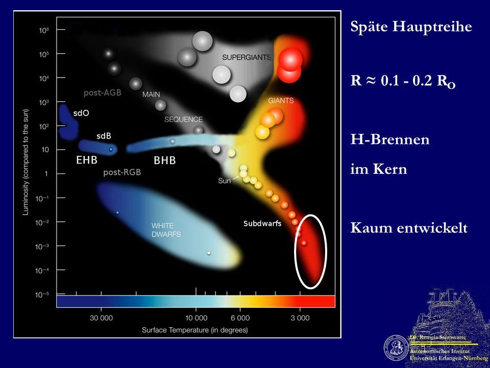 Späte Hauptreihe R 0.1 - 0.2 R O H-Brennen im Kern Kaum entwickelt