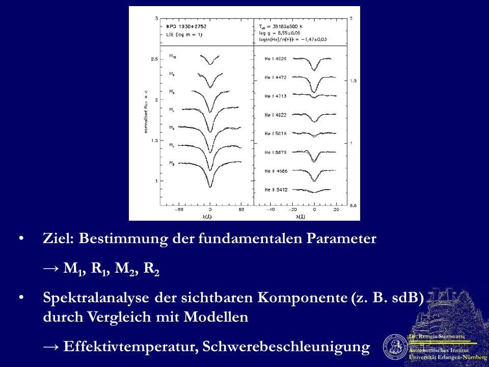 Ziel: Bestimmung der fundamentalen Parameter M 1, R 1, M 2, R 2 Spektralanalyse der sichtbaren Komponente (z. B. sdB) durch Vergleich mit Modellen Eff