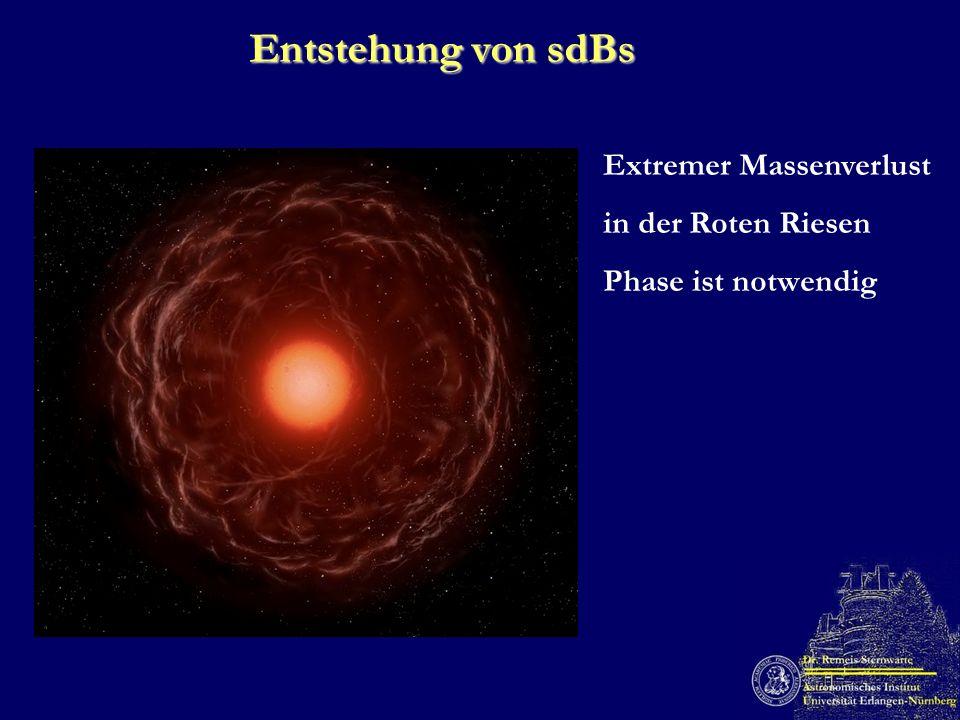 Entstehung von sdBs Extremer Massenverlust in der Roten Riesen Phase ist notwendig