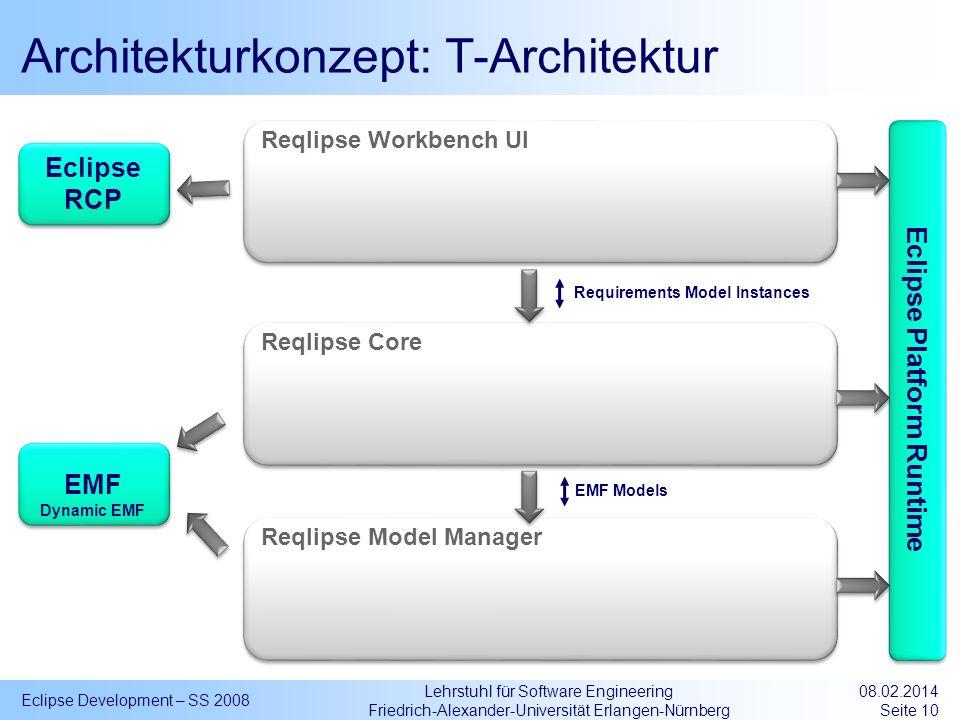 Lehrstuhl für Software Engineering Friedrich-Alexander-Universität Erlangen-Nürnberg Architekturkonzept: T-Architektur Eclipse Development – SS 2008 0