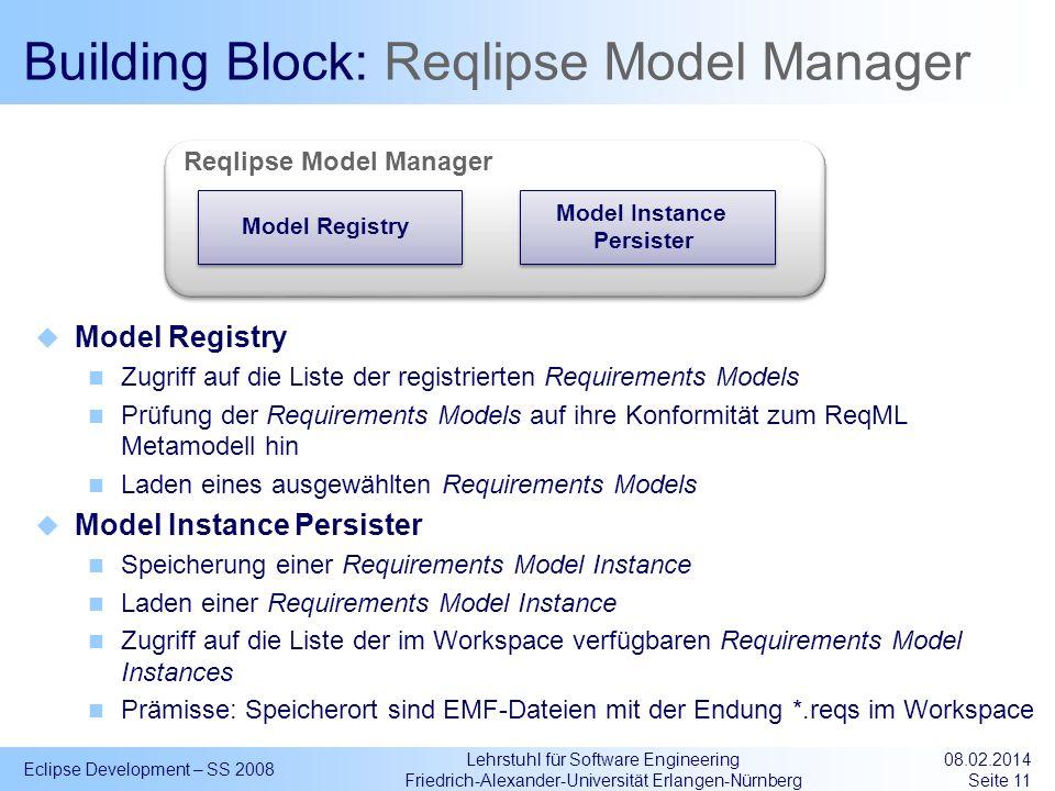 Lehrstuhl für Software Engineering Friedrich-Alexander-Universität Erlangen-Nürnberg Building Block: Reqlipse Model Manager Model Registry Zugriff auf