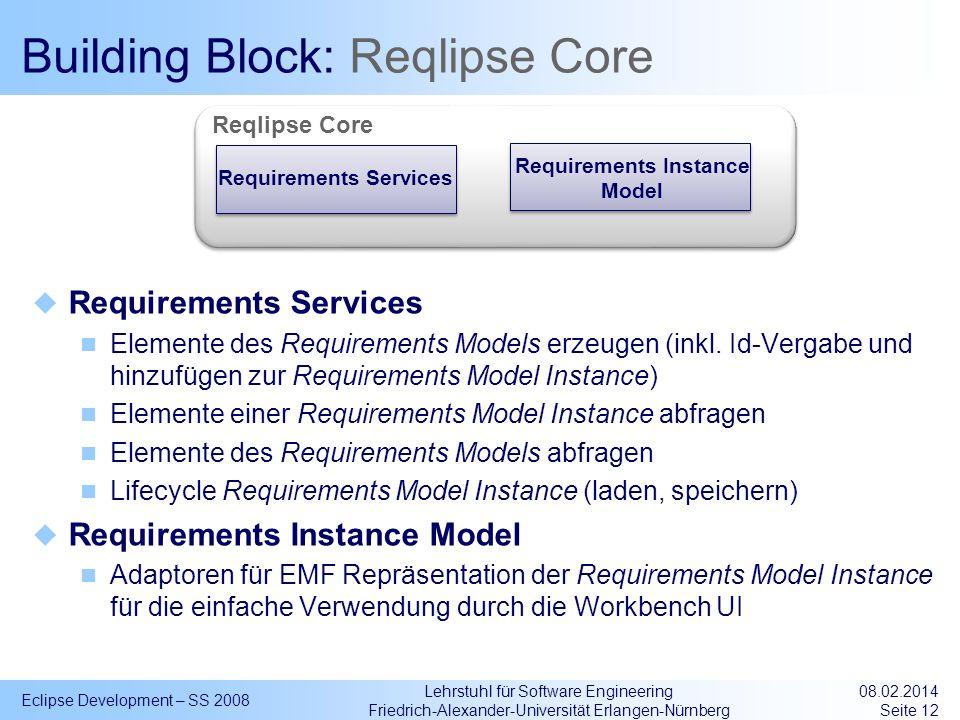 Lehrstuhl für Software Engineering Friedrich-Alexander-Universität Erlangen-Nürnberg Building Block: Reqlipse Core Requirements Services Elemente des