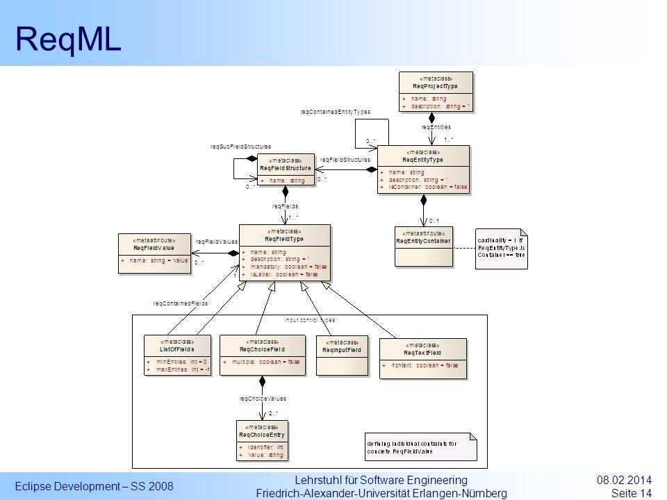 Lehrstuhl für Software Engineering Friedrich-Alexander-Universität Erlangen-Nürnberg ReqML Eclipse Development – SS 2008 08.02.2014 Seite 14