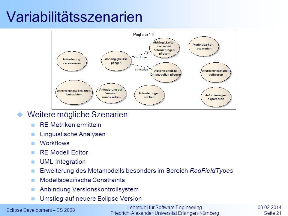 Lehrstuhl für Software Engineering Friedrich-Alexander-Universität Erlangen-Nürnberg Variabilitätsszenarien Eclipse Development – SS 2008 08.02.2014 S