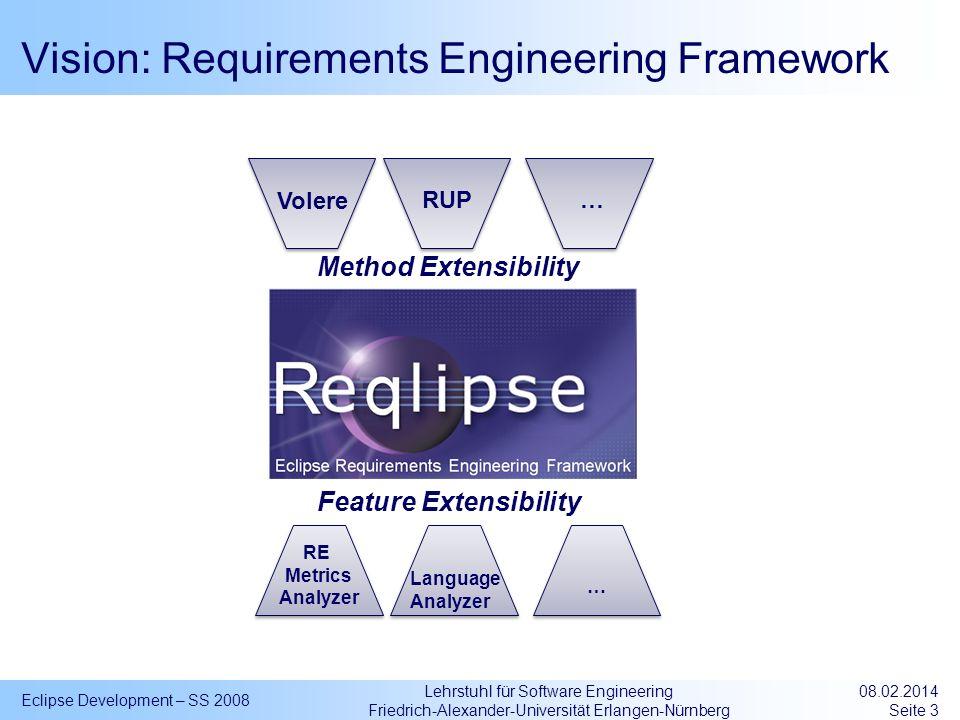 Lehrstuhl für Software Engineering Friedrich-Alexander-Universität Erlangen-Nürnberg Vision: Requirements Engineering Framework Eclipse Development –