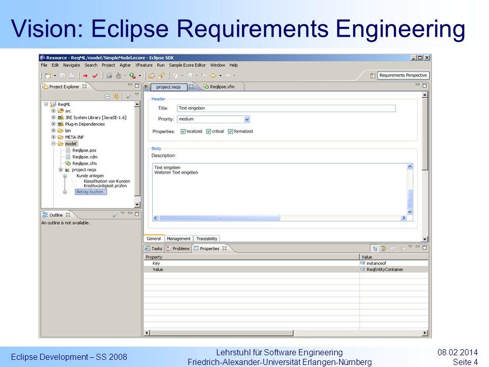 Lehrstuhl für Software Engineering Friedrich-Alexander-Universität Erlangen-Nürnberg Vision: Eclipse Requirements Engineering Eclipse Development – SS
