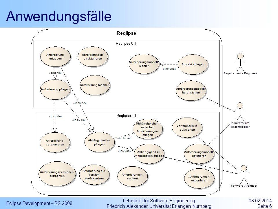 Lehrstuhl für Software Engineering Friedrich-Alexander-Universität Erlangen-Nürnberg ReqML Instanzen ReqProjectType Eclipse Development – SS 2008 08.02.2014 Seite 17