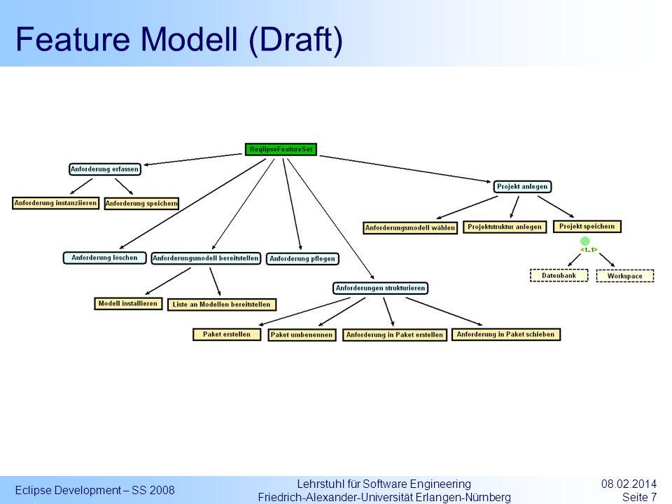 Lehrstuhl für Software Engineering Friedrich-Alexander-Universität Erlangen-Nürnberg Feature Modell (Draft) Eclipse Development – SS 2008 08.02.2014 S