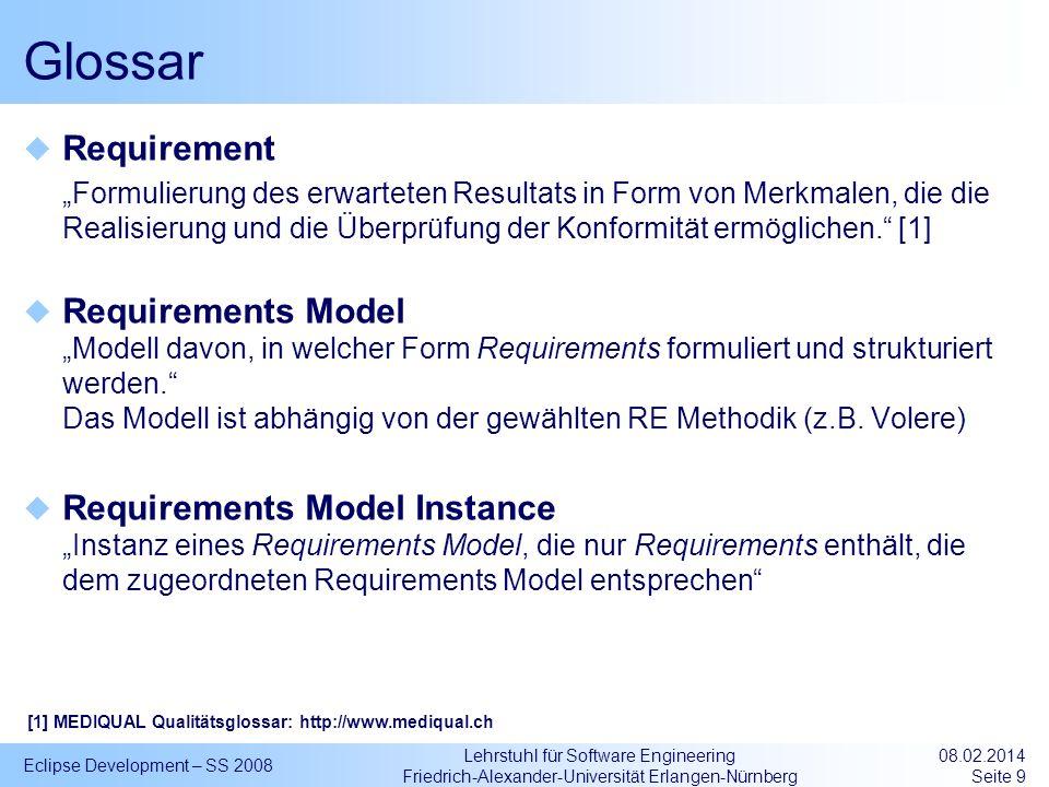 Lehrstuhl für Software Engineering Friedrich-Alexander-Universität Erlangen-Nürnberg Glossar Requirement Formulierung des erwarteten Resultats in Form