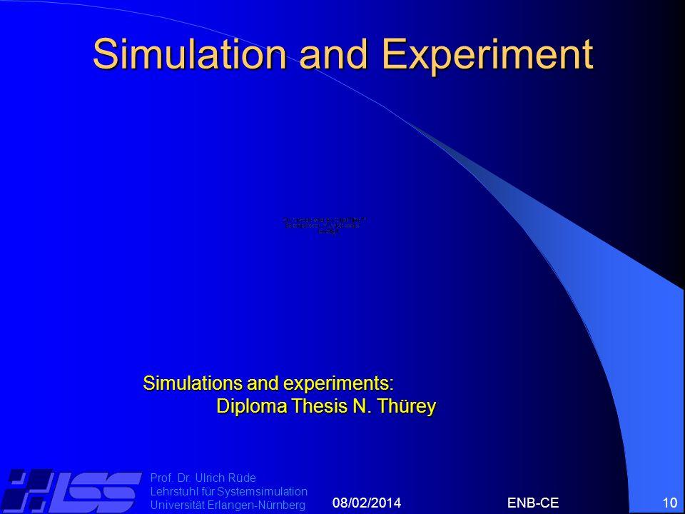 08/02/2014ENB-CE10 Prof. Dr. Ulrich Rüde Lehrstuhl für Systemsimulation Universität Erlangen-Nürnberg Simulation and Experiment Simulations and experi