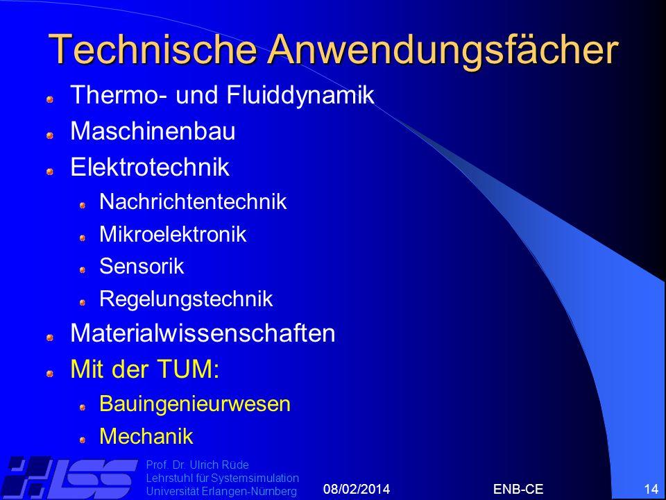 08/02/2014ENB-CE14 Prof. Dr. Ulrich Rüde Lehrstuhl für Systemsimulation Universität Erlangen-Nürnberg Technische Anwendungsfächer Thermo- und Fluiddyn
