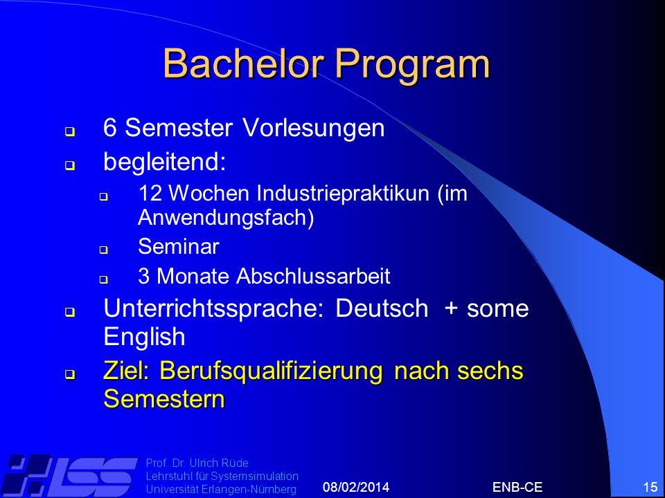 08/02/2014ENB-CE15 Prof. Dr. Ulrich Rüde Lehrstuhl für Systemsimulation Universität Erlangen-Nürnberg Bachelor Program 6 Semester Vorlesungen begleite