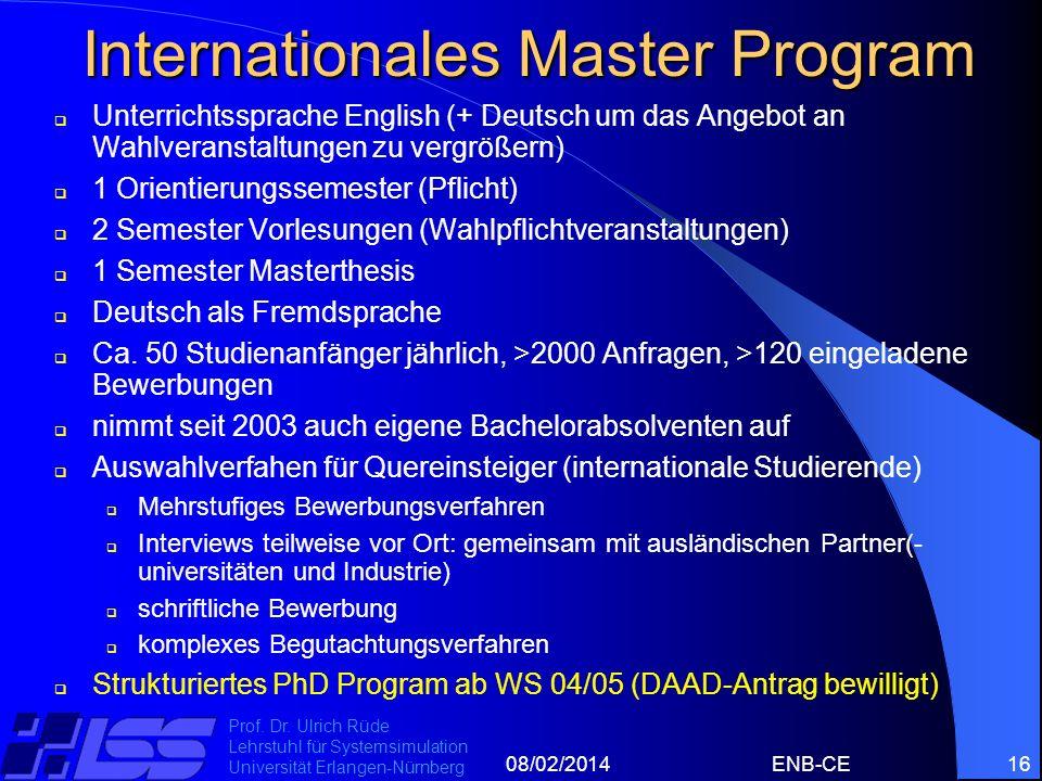 08/02/2014ENB-CE16 Prof. Dr. Ulrich Rüde Lehrstuhl für Systemsimulation Universität Erlangen-Nürnberg Internationales Master Program Unterrichtssprach