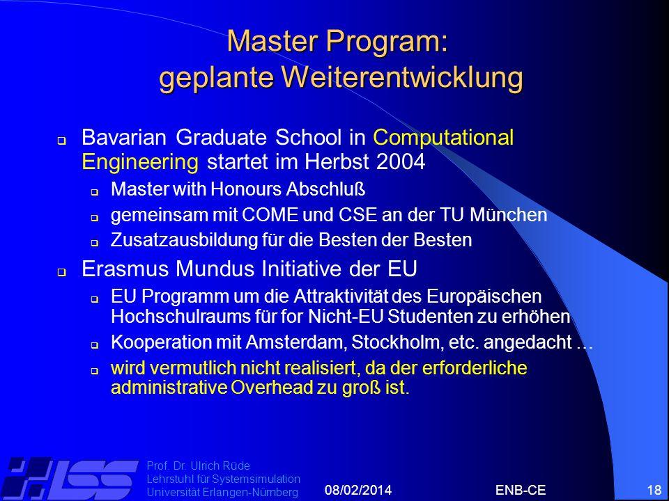 08/02/2014ENB-CE18 Prof. Dr. Ulrich Rüde Lehrstuhl für Systemsimulation Universität Erlangen-Nürnberg Master Program: geplante Weiterentwicklung Bavar