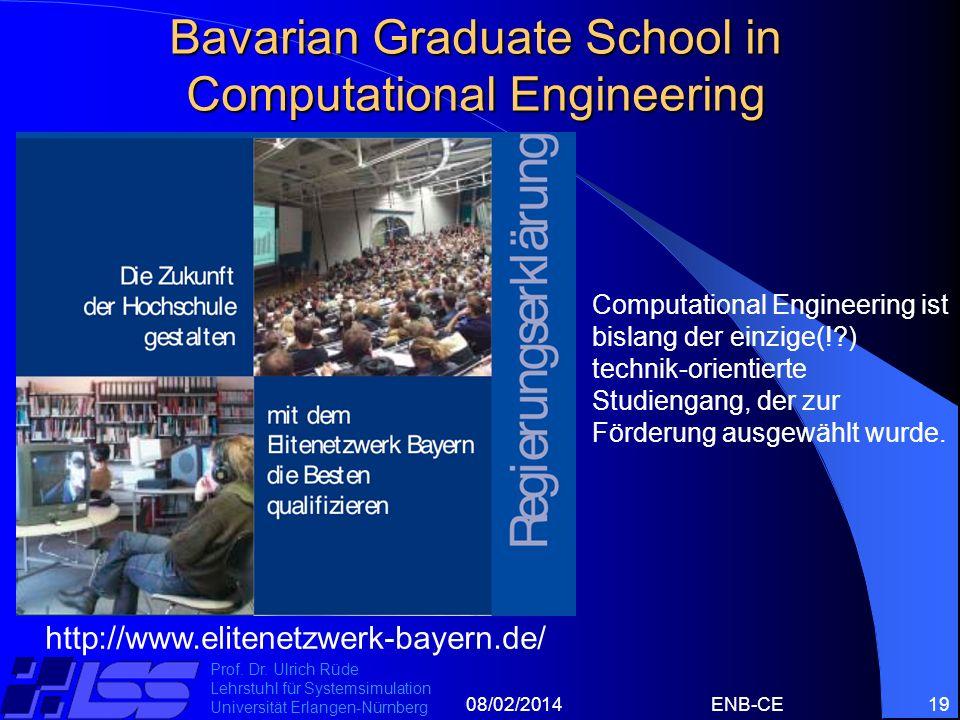 08/02/2014ENB-CE19 Prof. Dr. Ulrich Rüde Lehrstuhl für Systemsimulation Universität Erlangen-Nürnberg Bavarian Graduate School in Computational Engine