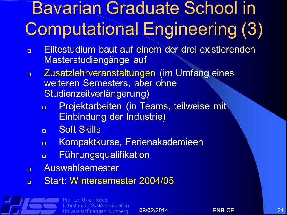 08/02/2014ENB-CE21 Prof. Dr. Ulrich Rüde Lehrstuhl für Systemsimulation Universität Erlangen-Nürnberg Bavarian Graduate School in Computational Engine