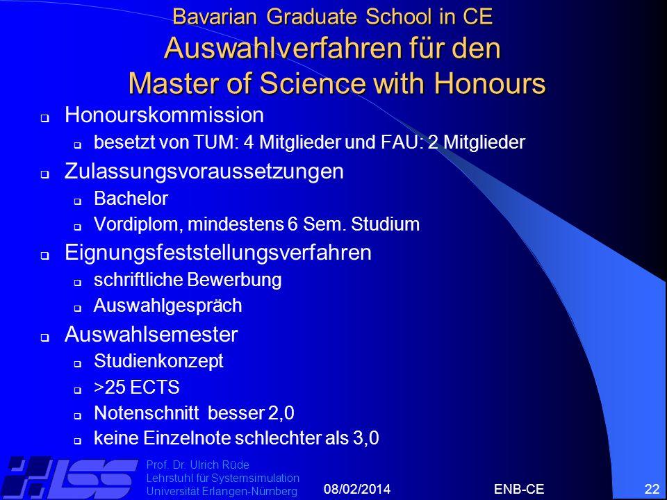 08/02/2014ENB-CE22 Prof. Dr. Ulrich Rüde Lehrstuhl für Systemsimulation Universität Erlangen-Nürnberg Bavarian Graduate School in CE Auswahlverfahren