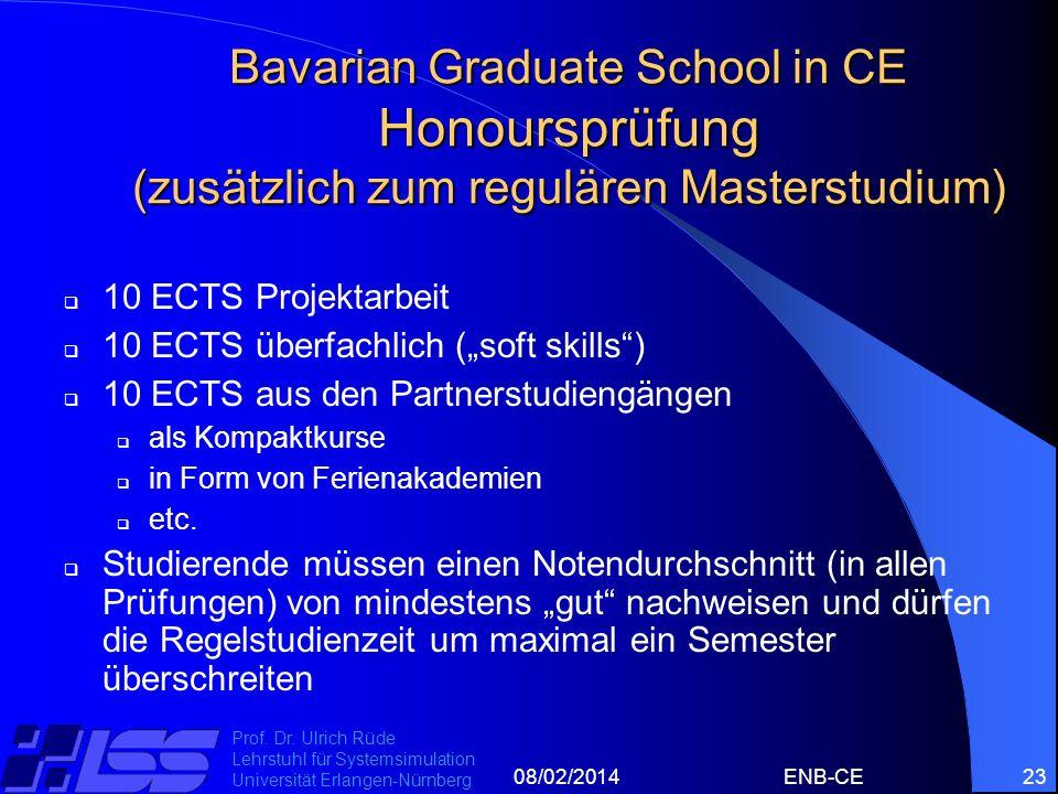 08/02/2014ENB-CE23 Prof. Dr. Ulrich Rüde Lehrstuhl für Systemsimulation Universität Erlangen-Nürnberg Bavarian Graduate School in CE Honoursprüfung (z