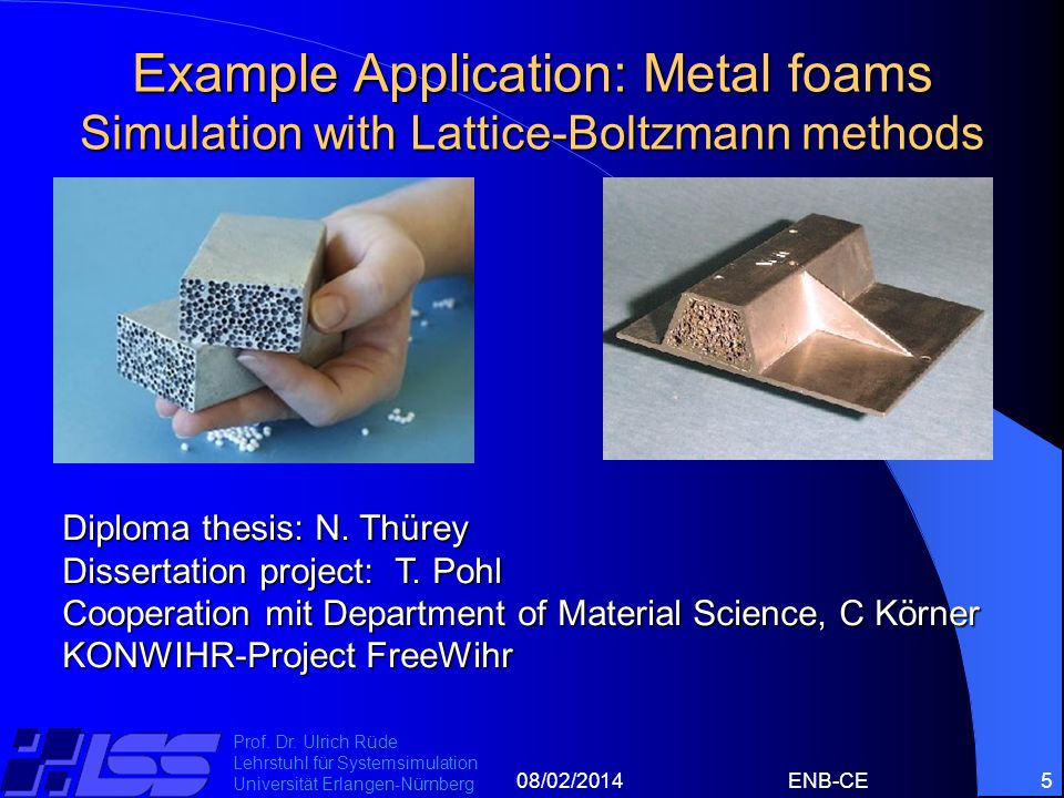 08/02/2014ENB-CE5 Prof. Dr. Ulrich Rüde Lehrstuhl für Systemsimulation Universität Erlangen-Nürnberg Example Application: Metal foams Simulation with