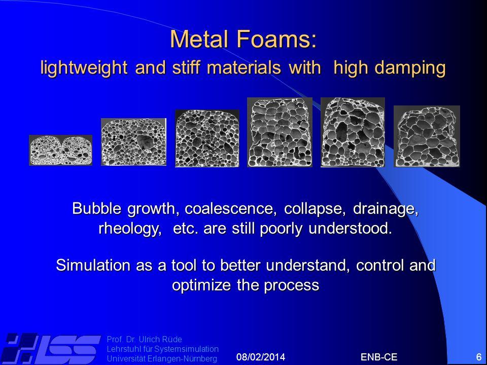 08/02/2014ENB-CE6 Prof. Dr. Ulrich Rüde Lehrstuhl für Systemsimulation Universität Erlangen-Nürnberg Metal Foams: lightweight and stiff materials with