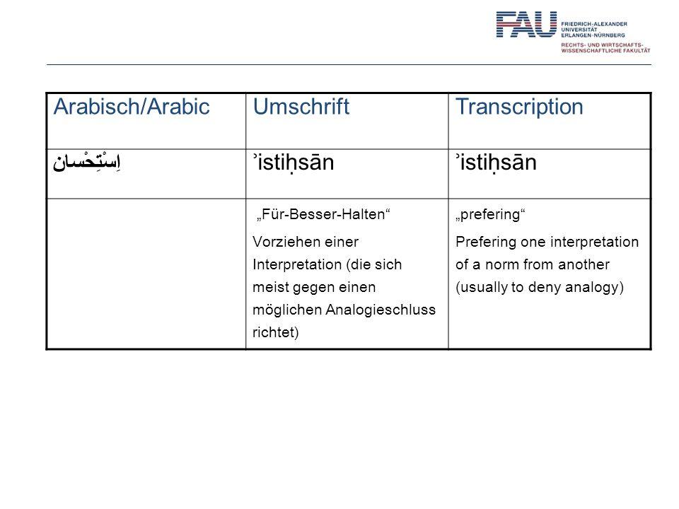 Arabisch/ArabicUmschriftTranscription اِسْتِحْسان ʾistisān Für-Besser-Halten Vorziehen einer Interpretation (die sich meist gegen einen möglichen Anal