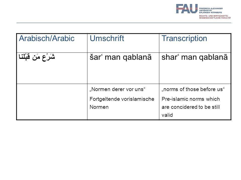 Arabisch/ArabicUmschriftTranscription شَرْع مَن قَبْلَنا šarʿ man qablanāsharʿ man qablanā Normen derer vor uns Fortgeltende vorislamische Normen norm